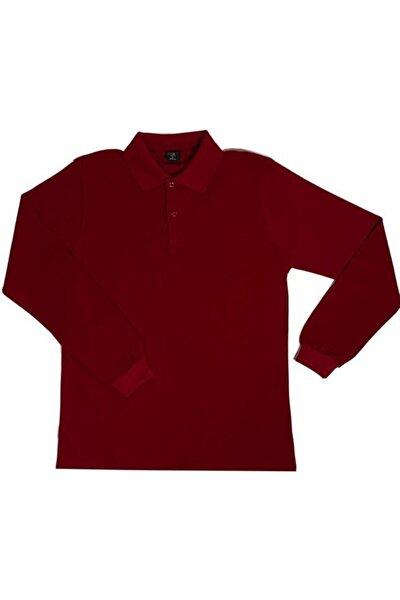 Unısex Penye Polo Yaka Uzun Kollu Bordo Tişört Çocuk/yetişkin