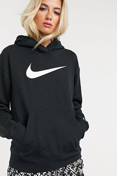 Sportswear Loose Fit Fleece Black Bol Kesim Siyah Swoosh Sweatshirt