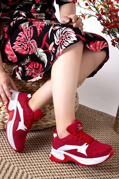Kadın Kırmızı File Siyah Sneaker Günlük Spor Ayakkabı 1812