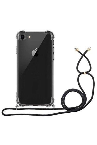 Iphone 7 8 Se 2020 Boyundan Askılı Şeffaf Darbe Emici Telefon Kılıfı Siyah Ipli