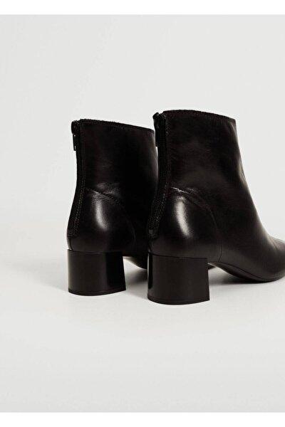 Kadın Siyah Topuklu Deri Yarım Bot