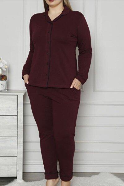 Mürdüm Kadın Pijama Takımı Düğmeli Uzun Kollu Büyük Beden Cepli