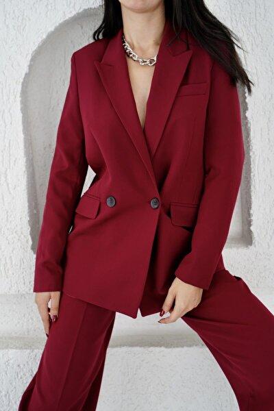 Kadın Bordo Iki Düğmeli Blazer Ceket 0993-2112