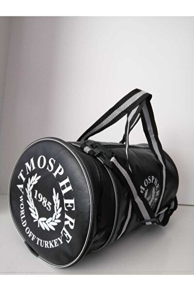 Unisex Siyah Silindir Spor Çantası