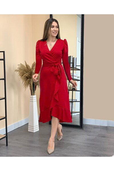 Kadın Kırmızı Kruvaze Yaka Krep Kumaş Midi Boy Kuşaklı Elbise