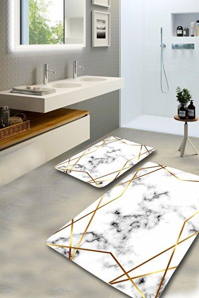 Gold Frame Çerçeveli Mermer Desenli Yıkanabilir 2li Banyo Halısı Paspas Klozet Takımı