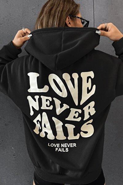 Kadın Siyah Love Never Fails Oversize Kapşonlu Kanguru Sweatshirt