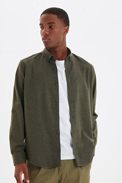 Yeşil Erkek Slim Fit Gömlek Yaka Gömlek TMNAW20GO0094