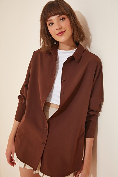 Kadın Çikolata Oversize Uzun Basic Gömlek  DD00842