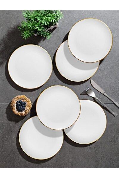 Beyaz Gold 6'lı Pasta Tabağı