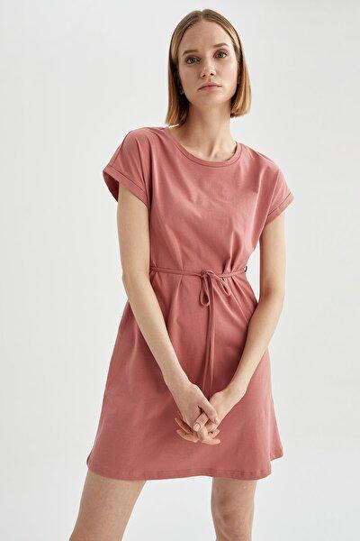 Basic Beli Bağcıklı Yazlık Mini Elbise