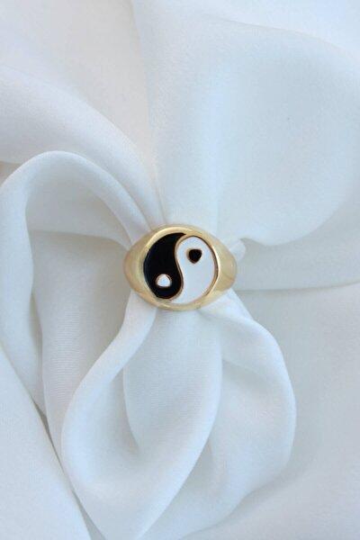 Siyah Beyaz Ying Yang Ayarlanabilir Gold Şovalye Yüzük