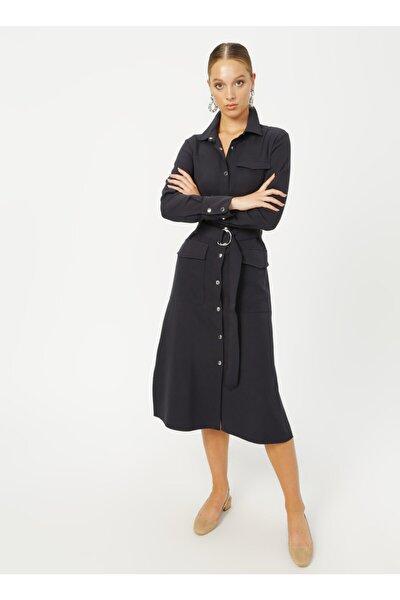 Gömlek Yaka Düz Lacivert Kadın Elbise