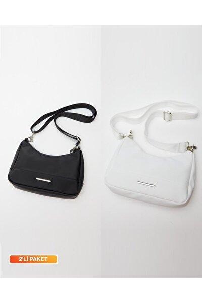 Kadın Siyah-beyaz Çok Yönlü Kol Çantası 2'li Paket Avantajlı Fiyat