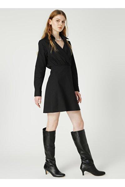 Gömlek Yaka Düz Siyah Kadın Elbise