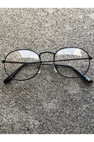 Unisex Siyah Ova Şeffaf Gözlük
