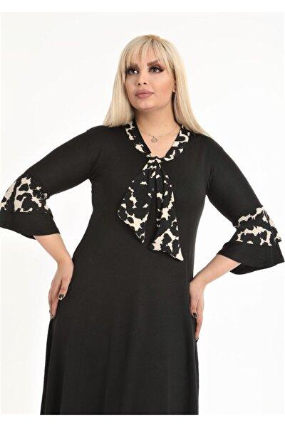 Kadın Siyah Kravatlı Leopar Detaylı Midi Elbise