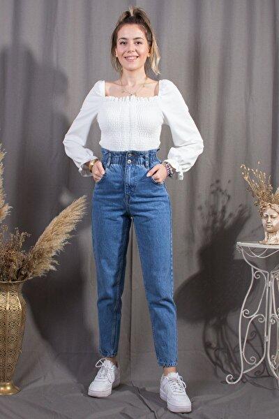 Kadın Mavi Trend Beli Lastikli Jean Pantolon