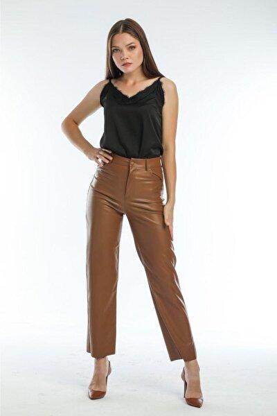 Kadın Kahve Deri Pantolon