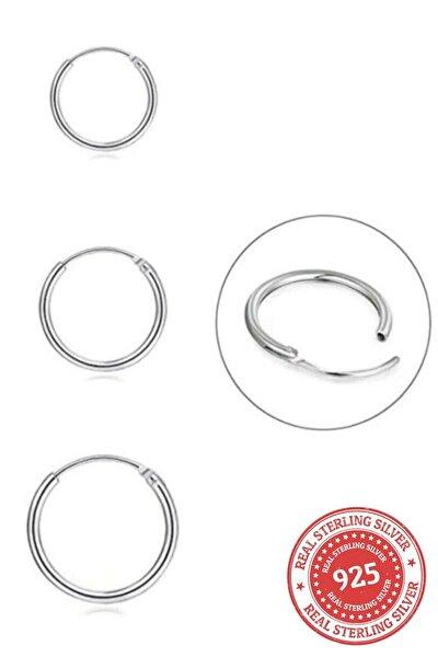 Kadın Tek Kulak Kadın 925 Ayar Gümüş Üçü Bir Arada Üçlü Halka Küpe Seti Yarım Kombin 12-14-16mm