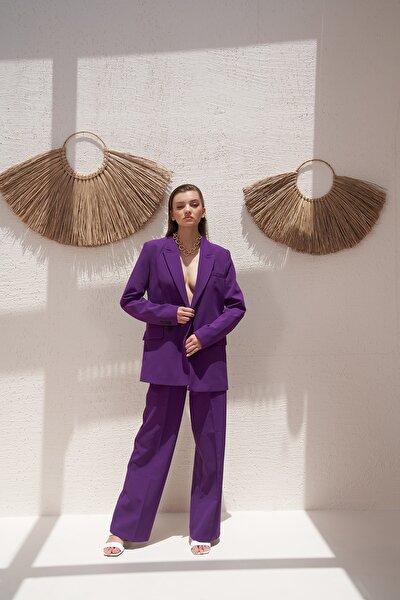 Kadın Mor Iki Düğmeli Blazer Ceket 0993-2112