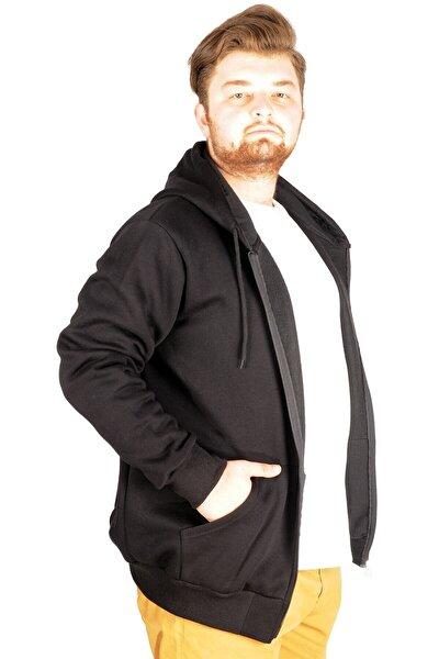 Erkek Siyah Kapşonlu Zippered Basic Sweatshirt 20543