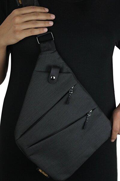 Unisex Siyah Kumaş Bel Ve Çapraz Askılı Çanta Göğüs Seyahet Günlük Bodybag