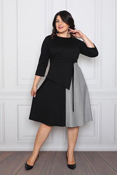 Kadın Siyah Iki Renkli Ve Kuşak Detaylı Elbise