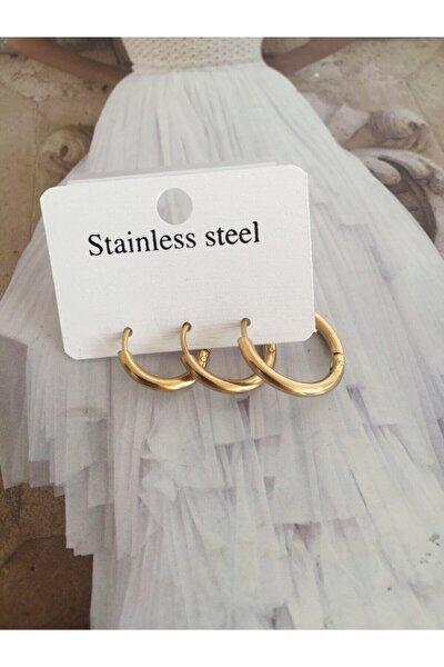 Çelik Gold Renk  Halka Küpe Seti 3 Lü