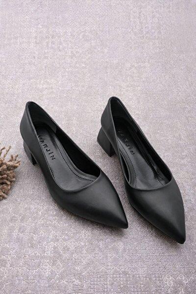 Kadın Sivri Burun Kalın Topuk Günlük Klasik Topuklu Ayakkabı Bonessiyah