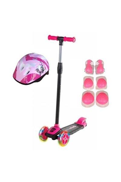 Kız Çocuk Pembe Led Işıklı 3 Tekerlekli Twist Scooter Full Set