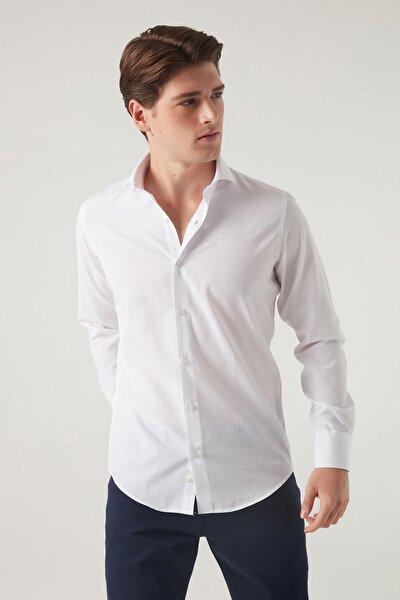 Erkek Gömlek Beyaz Renk Slim Fit