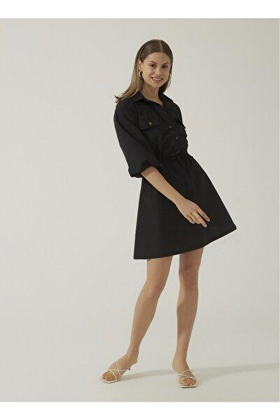 Kadın Siyah Düğmeli Elbise