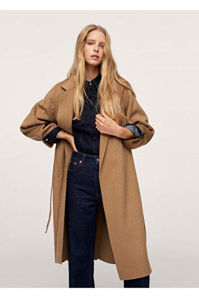 Kadın Orta Kahverengi Kemerli El Yapımı Palto