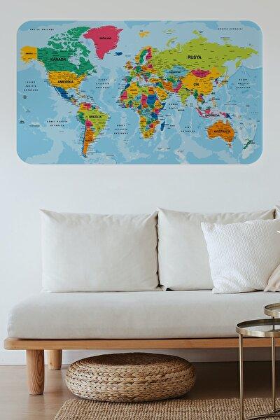 Türkçe Eğitici Ülke Ve Başkent Okyanus Detaylı Atlası Dekoratif Dünya Haritası Duvar Sticker
