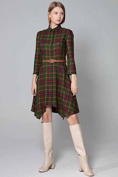 Elbise Polo Yaka Gizli Pat Asimetrik