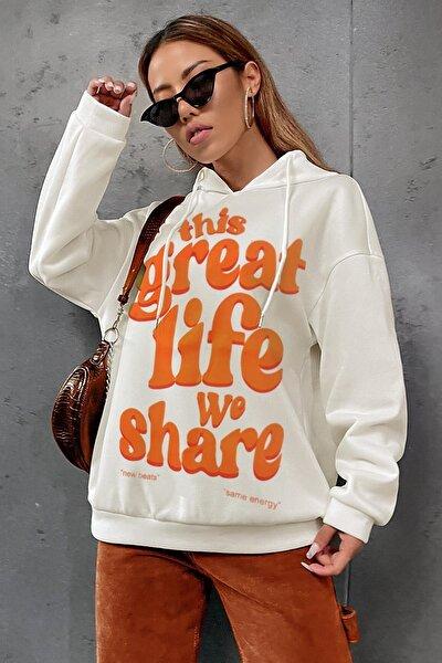 Kadın Ekru Great Life Oversize Kapşonlu Kanguru Sweatshirt