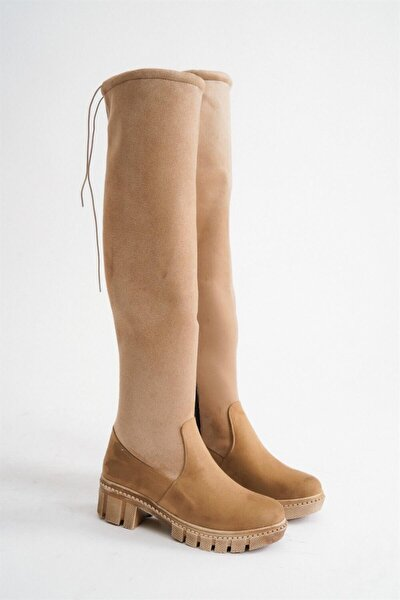 Bayan Vizon Süet Diz Üstü Uzun Ip Detaylı Çorap Çizme