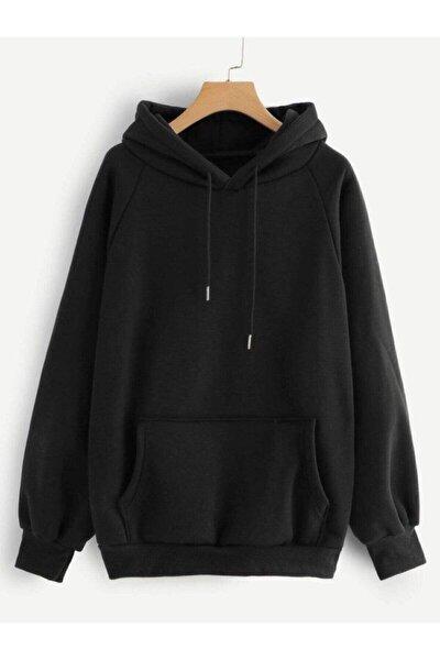 Unisex Siyah Düz Basic Sweatshirt