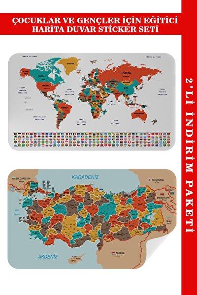 Eğitici - Öğretici Dünya Ve Türkiye Haritası Çocuk Odası Duvar Sticker I 3886