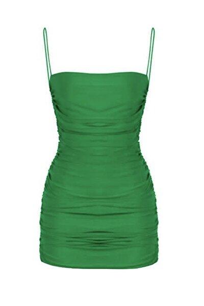 Yeşil Drapli Askılı Mini Elbise