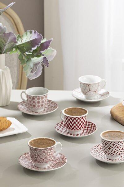 Arista Porselen 6'lı Kahve Fincan Takımı 90 ml Bordo