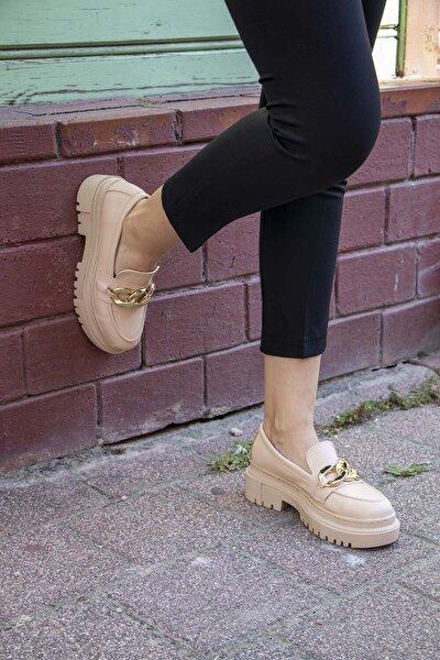 Zincirli Bej Kalın Taban Loafer Ayakkabı