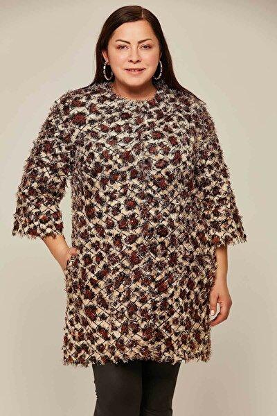 Kadın Büyük Beden Sakallı Pullu Kaban Y19w127-11605-b