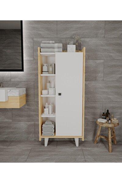 Beyaz  Modern Banyo Kitaplık Mutfak Kiler  Safir Meşe  Çok Amaçlı Dolap