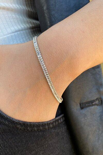 Kadın Gümüş Kaplama Zirkon Taşlı Baget Model Su Yolu Bileklik