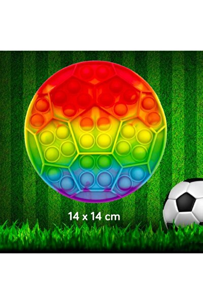 Pop It Fidget Stres Oyuncak Futbol Topu Gökkuşağı 14x14xm