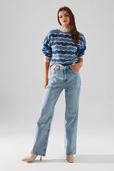 Mavi Yırtık Detaylı Yüksek Bel 90's Wide Leg Jeans TWOSS21JE0441