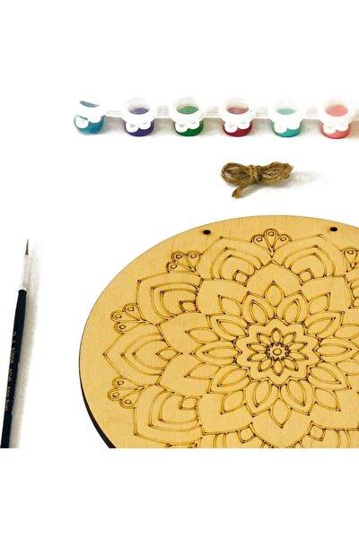 Keyifli Mandala Temalı Ahşap Boyama Tuval Seti Hobi Kiti