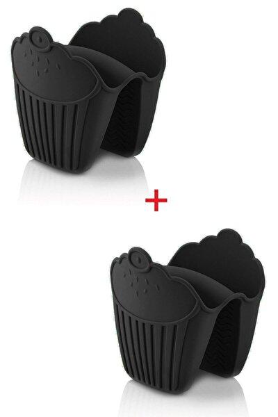 Siyah Silikon Fırın Eldiveni Tutucu Isı Yalıtımlı Kaymaz Mikrodalga Fırın Tenceretutmaç 2 Adet Siyah